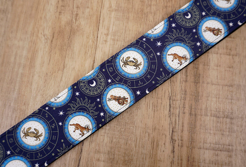 zodiac signs guitar strap with leather ends -3