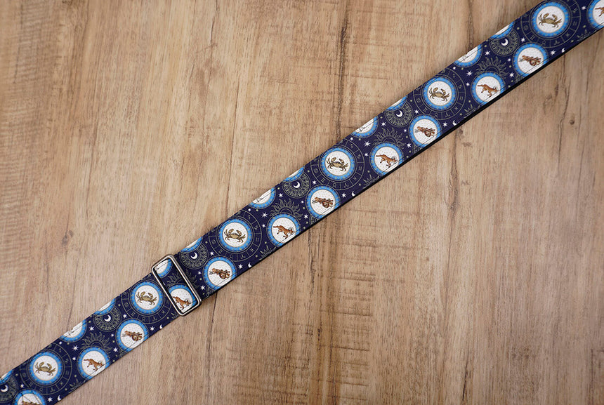 zodiac signs guitar strap with leather ends -5