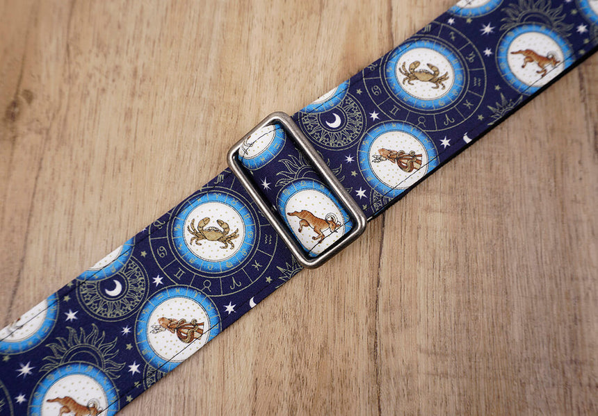 zodiac signs guitar strap with leather ends -6