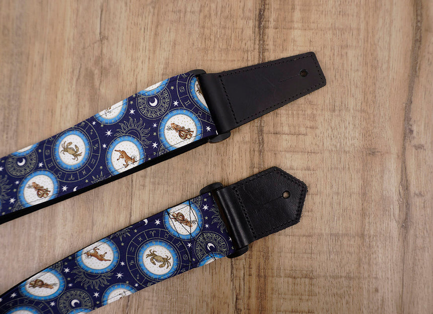 zodiac signs guitar strap with leather ends -7