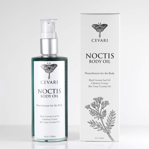 Noctis Body Oil Bottle with Product Box Beside Bottle