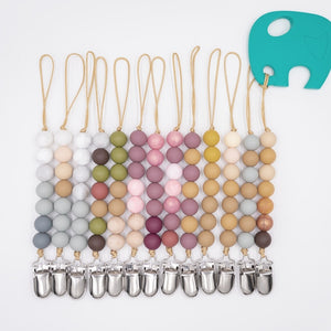 Beaded Wooden Pacifiers Clip