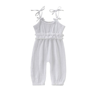 Baby Girl Sleeveless Bow-Knot Jumpsuits
