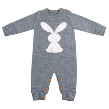 Load image into Gallery viewer, Knitted Rabbit tail Patchwork Romper