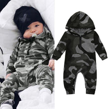 Load image into Gallery viewer, Camouflage Hooded Romper Jumpsuit