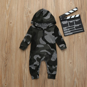 Camouflage Hooded Romper Jumpsuit