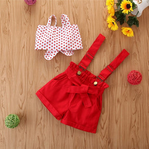 Baby Girl Summer Dot Bow Tie Set