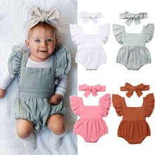 Load image into Gallery viewer, Linen Baby Girl Romper
