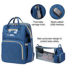 Load image into Gallery viewer, Diaper Bag with Portable Crib and changing station