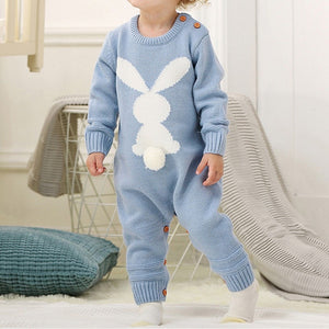 Knitted Rabbit tail Patchwork Romper