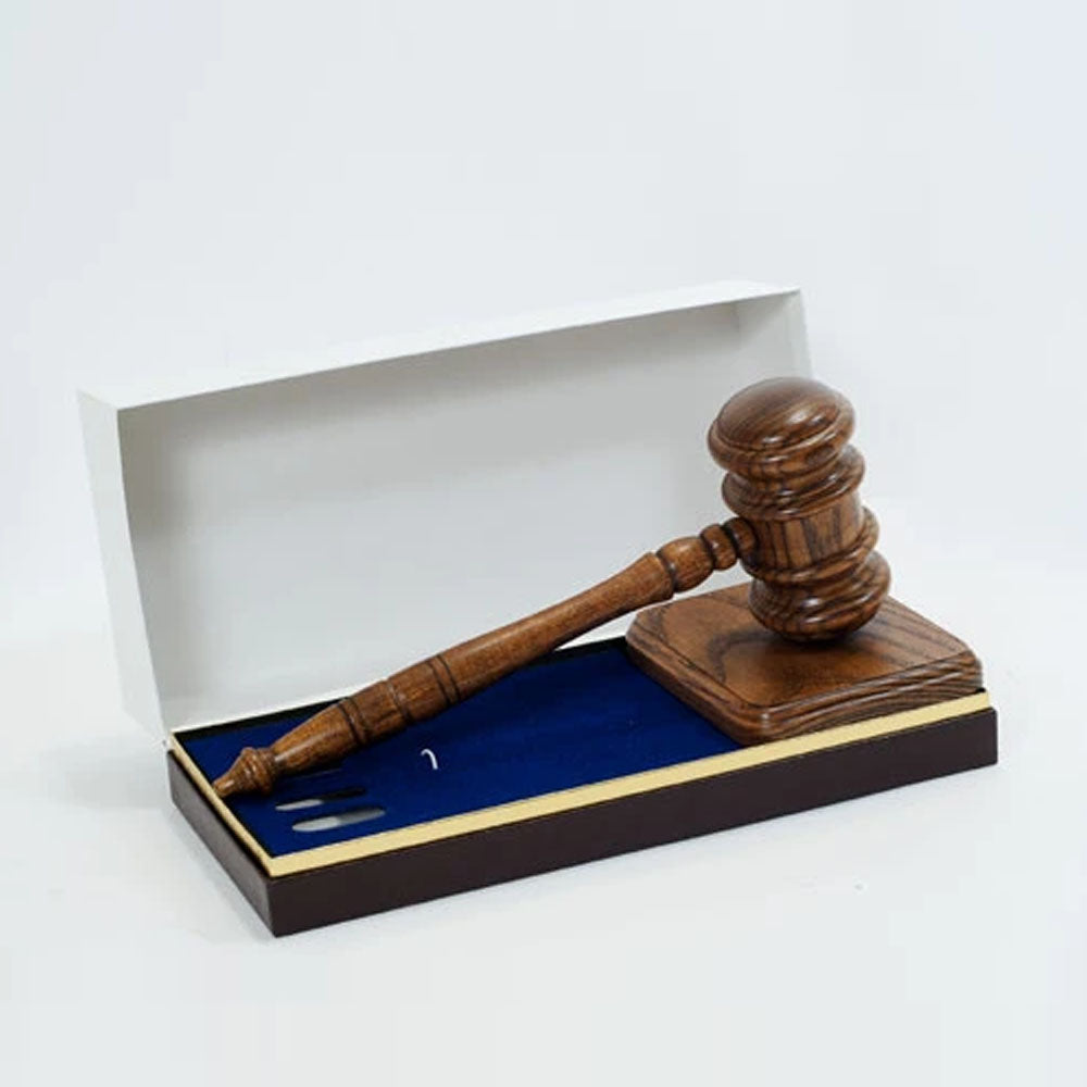 Free Engraving Deluxe Gavel set with presentation box