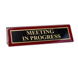 "Piano Finished Rosewood Standard Engraved Desk Name Plate 'Meeting in Progress', 2"" x 8"", Black/Gold Plate"