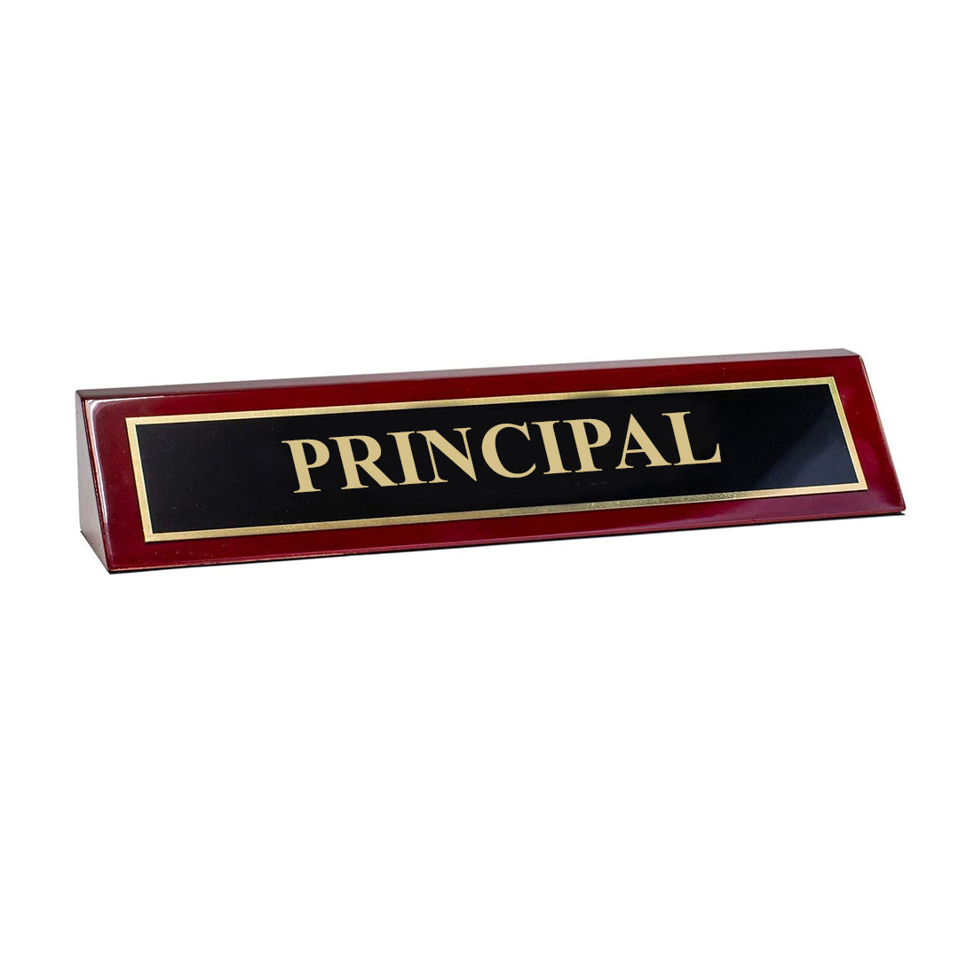 "Piano Finished Rosewood Standard Engraved Desk Name Plate 'Principal', 2"" x 8"", Black/Gold Plate"