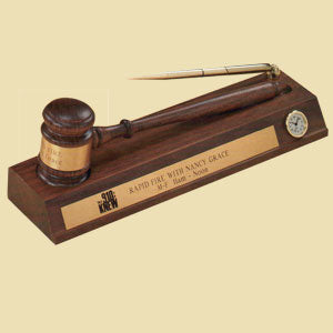 American Walnut Desk Stand - Pen & Clock - American Walnut Gavel