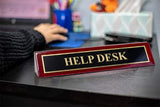 "Piano Finished Rosewood Standard Engraved Desk Name Plate 'Help Desk', 2"" x 8"", Black/Gold Plate"