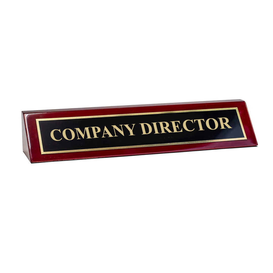 "Piano Finished Rosewood Standard Engraved Desk Name Plate 'Company Director', 2"" x 8"", Black/Gold Plate"