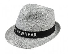 Afbeelding in Gallery-weergave laden, Hoed sparkling 'happy new year' unisex zilver one size