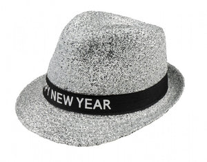 Hoed sparkling 'happy new year' unisex zilver one size