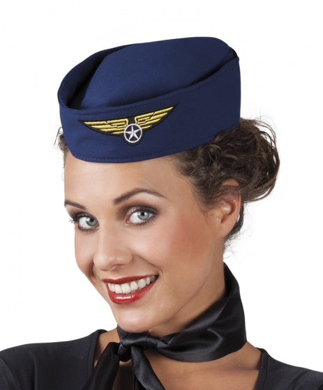 Hoed stewardess dames one size blauw