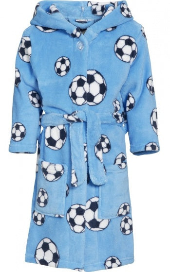 Badjas soccer junior fleece blauw maat 110/116