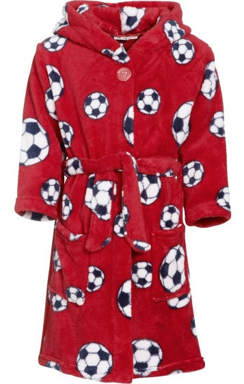 Badjas soccer junior fleece rood maat 134/140