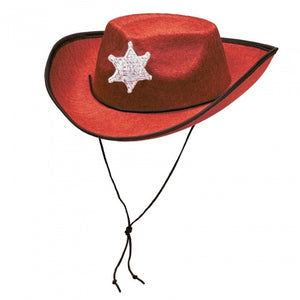 Kinderhoed cowboy rood one size