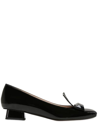Adalberta Low Heel Pump in Black Patent Leather