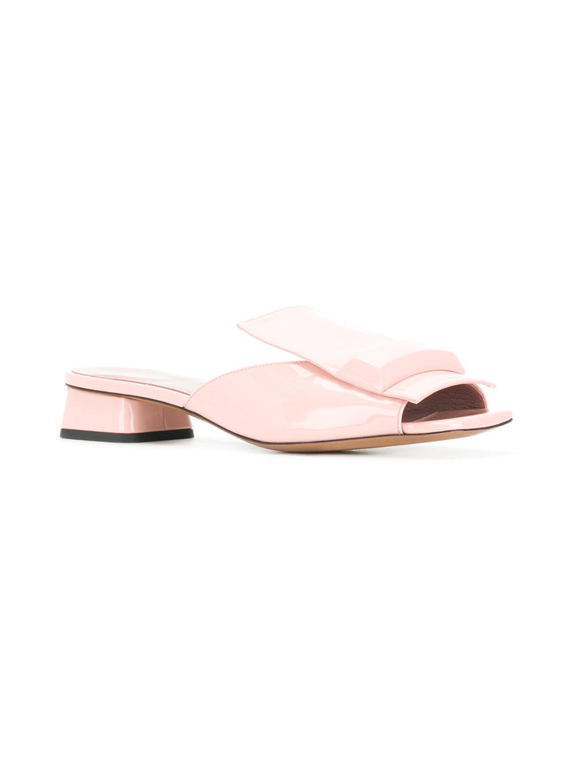 hoity-toity-shoes - Rayne Open Toe Mules in Pink Patent - Rayne Of London - Mule,Low Heel