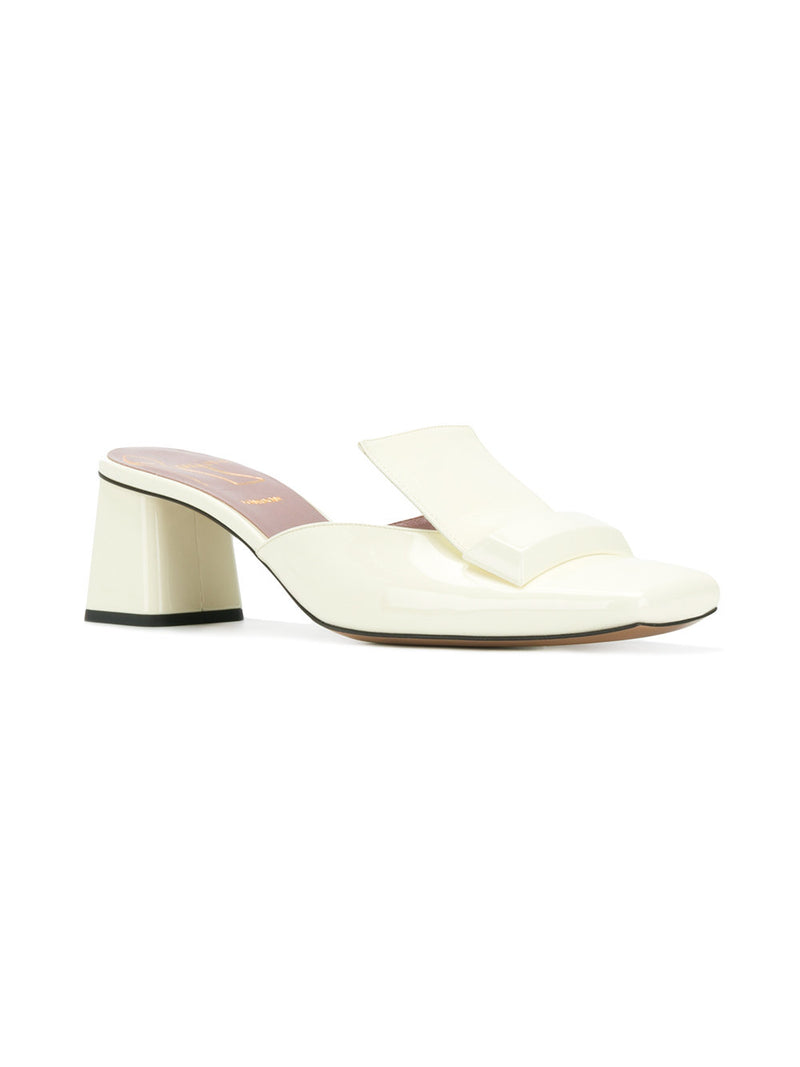 hoity-toity-shoes - Creamy White Patent Leather Square Toe Block Heel Mules from Rayne. - Rayne Of London - Mule,Low Heel