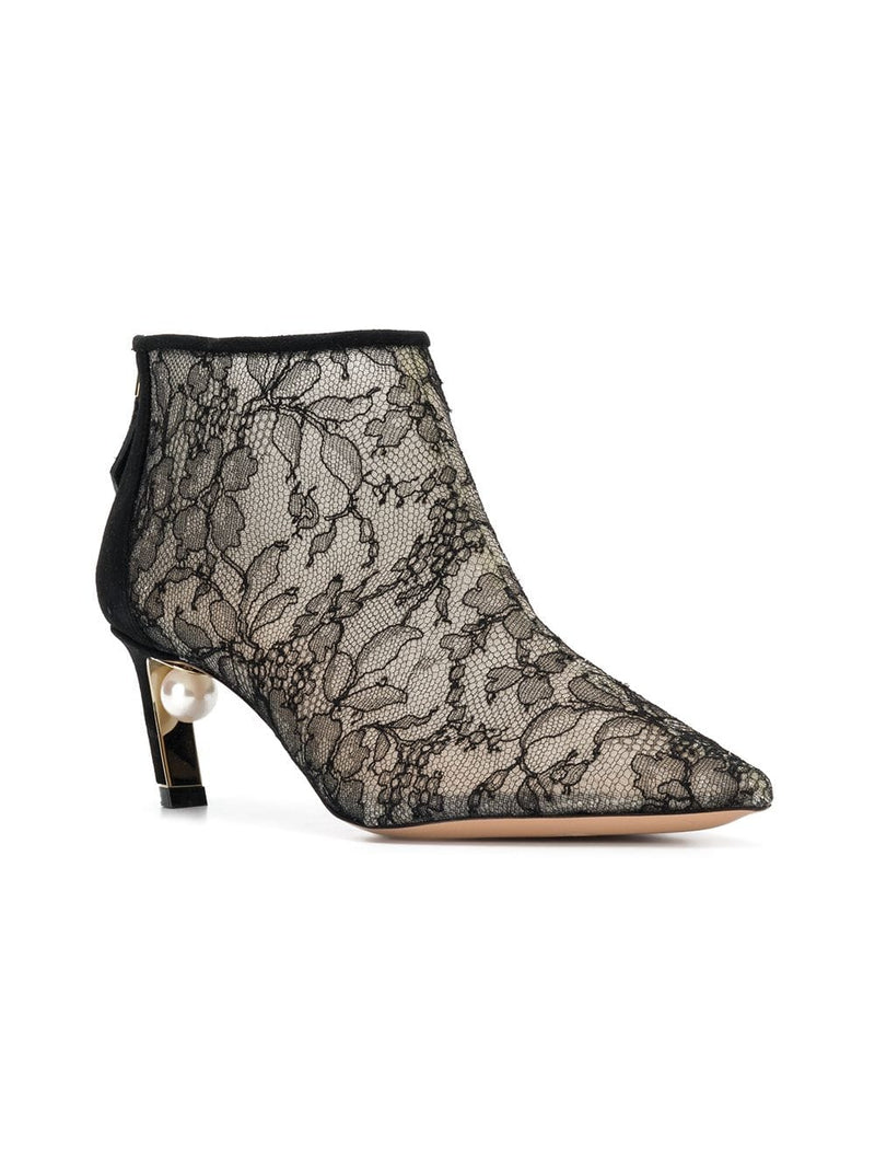hoity-toity-shoes - Nicholas Kirkwood Mira Pearl 55mm Lace and Suede Ankle Bootie in Black - Nicholas Kirkwood - High Heel Bootie