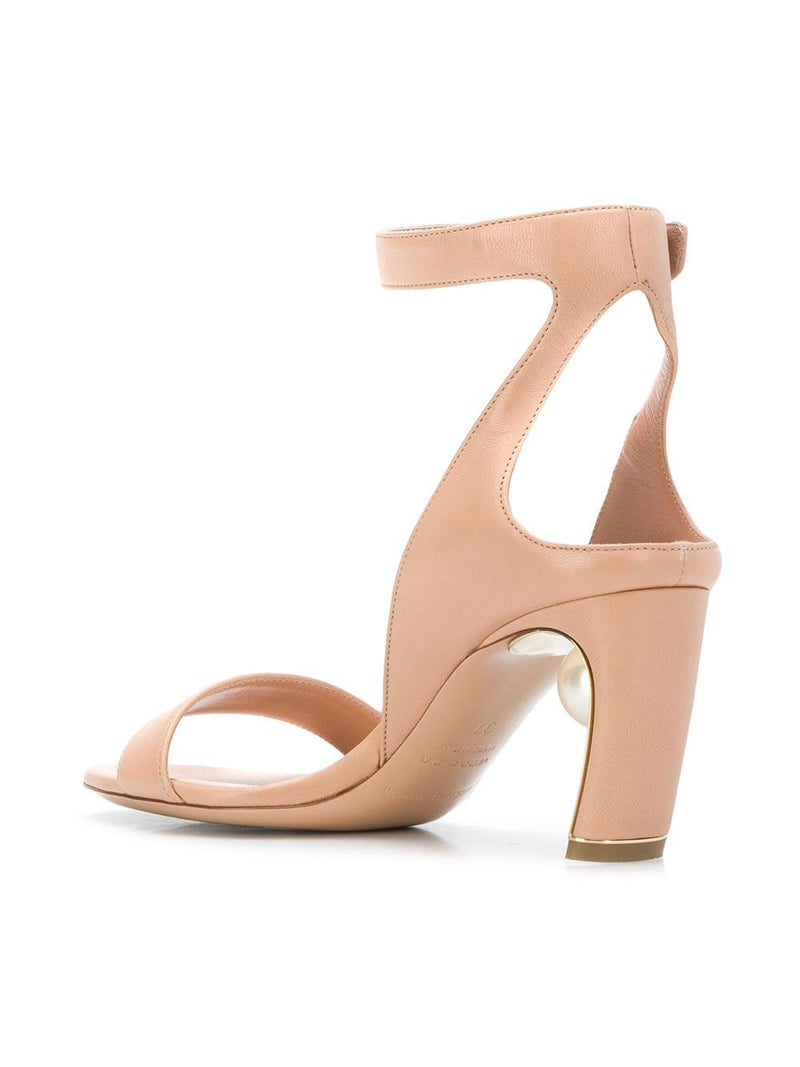 hoity-toity-shoes - Lola Pearl Mid Heeled Sandals in Nude Nappa - Nicholas Kirkwood - Mid Heel,Strappy Sandal
