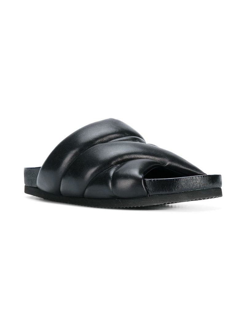 hoity-toity-shoes - Puffer Pool Slides in Black Nappa Leather - Nicholas Kirkwood - Flats > Slider,Flats