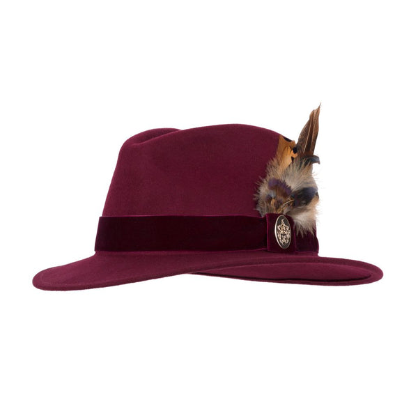 The Chelsworth Fedora Hat in Maroon
