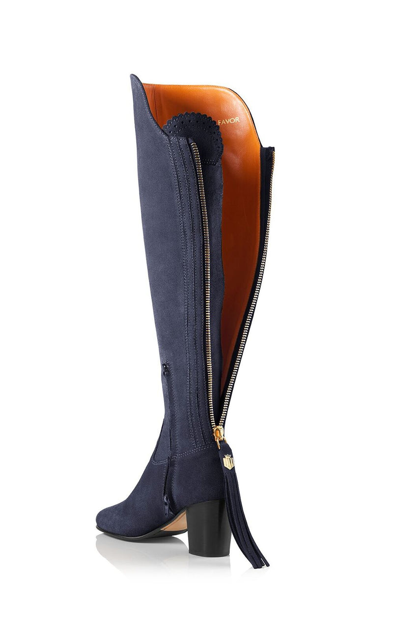 hoity-toity-shoes - Amira Above The Knee Suede Boot in Navy - Fairfax & Favor - Boots