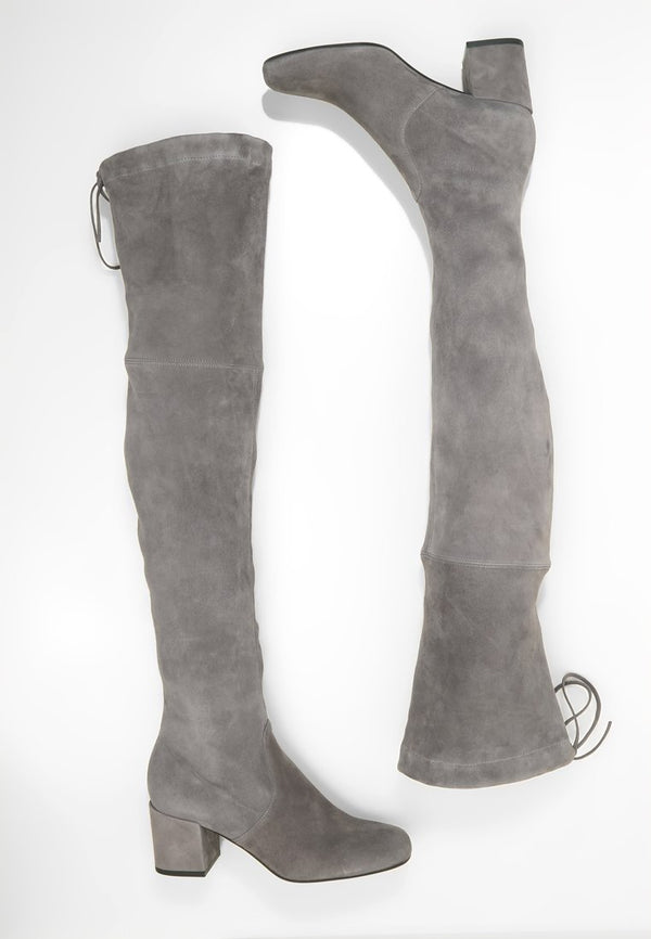 Gal Over The Knee Grey Suede 65mm Block Heeled Boots