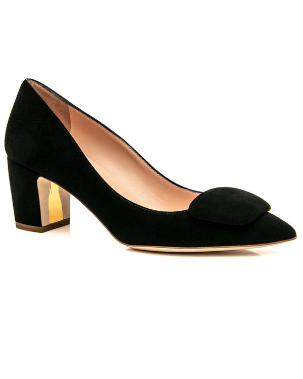 hoity-toity-shoes - New Clava Pebble Mid Heel Pump in Black Suede - Rupert Sanderson - Mid Heel,Pumps