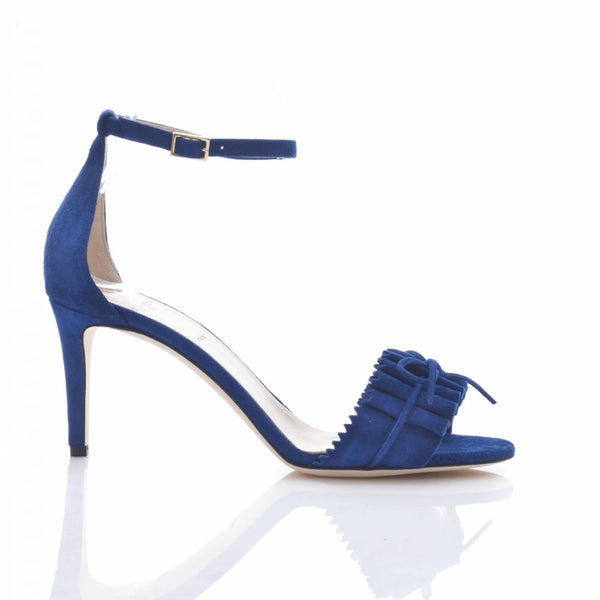 hoity-toity-shoes - Eva Ruffle Suede Sandal in Blue - Alexander White - Strappy Sandal,High Heel