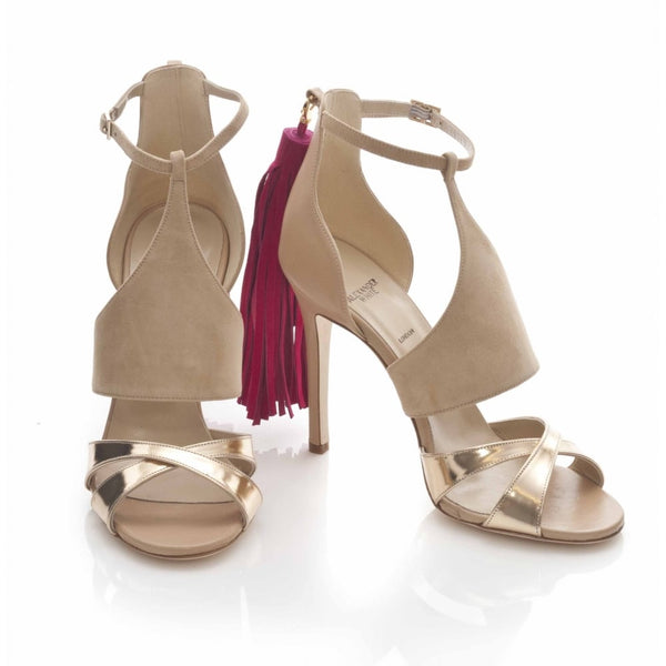 hoity-toity-shoes - Iman in Gold Nude and Raspberry - Alexander White - Strappy Sandal,High Heel