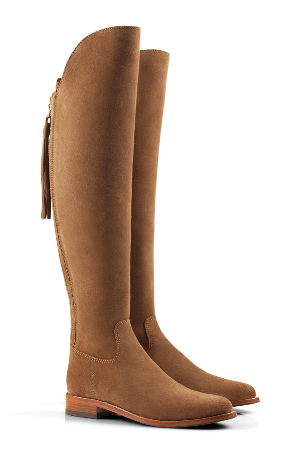 hoity-toity-shoes - The Amira Over The Knee Flat Boot in Tan Suede - Fairfax & Favor - Boots