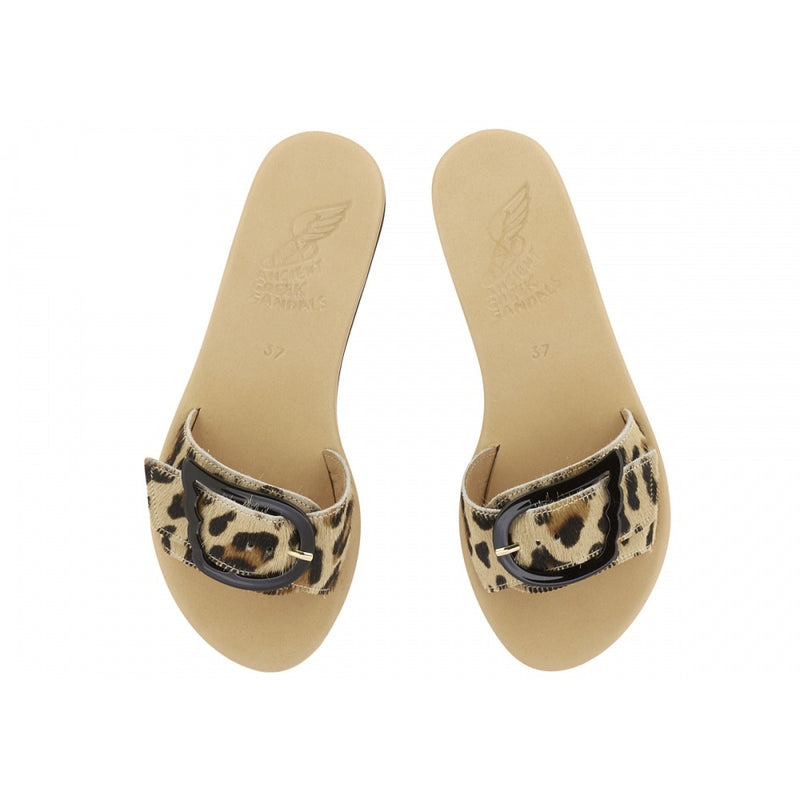 hoity-toity-shoes - Agalia-mule-in-leopard-and-nude - Ancient Greek Sandals - Flats > Slider,Mule,Wedge,Flats