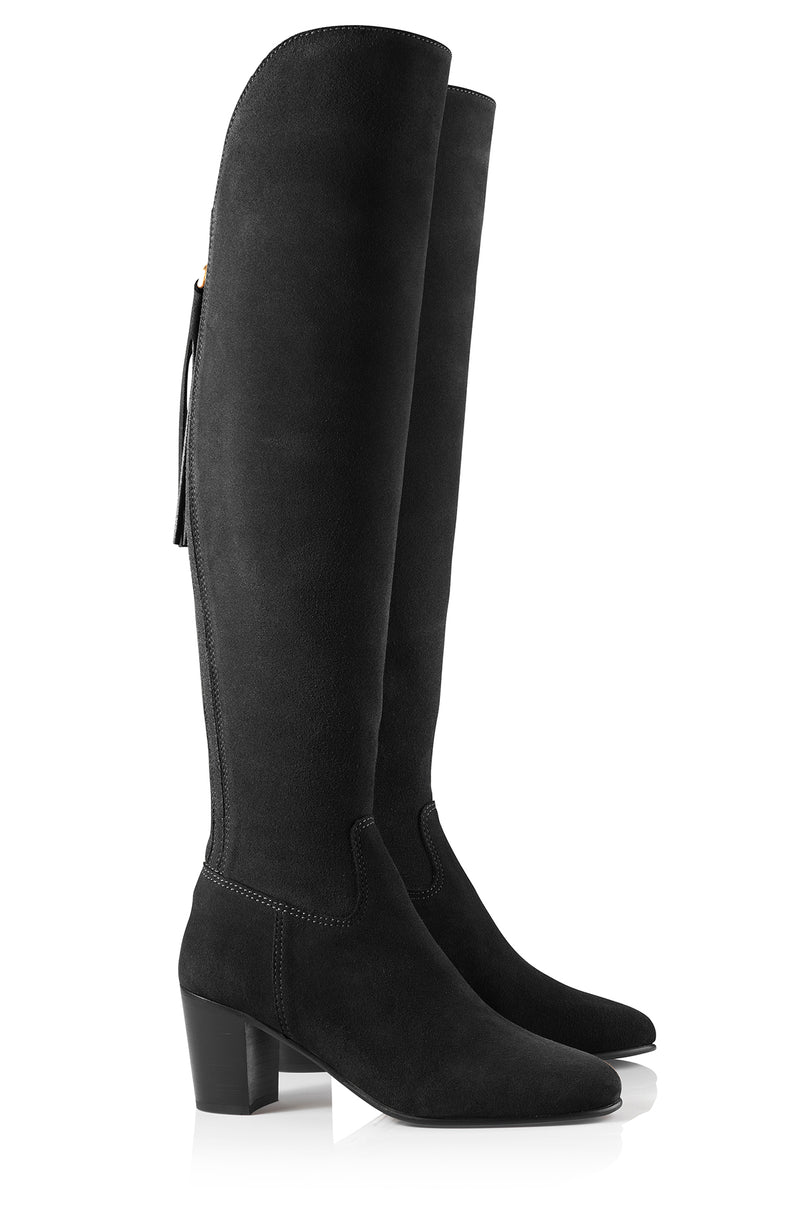 hoity-toity-shoes - Amira Above The Knee Suede Boot in Black - Fairfax & Favor - Boots
