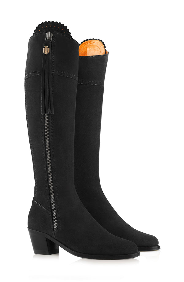 hoity-toity-shoes - Heeled Regina Suede Boot in Black - Fairfax & Favor - Boots