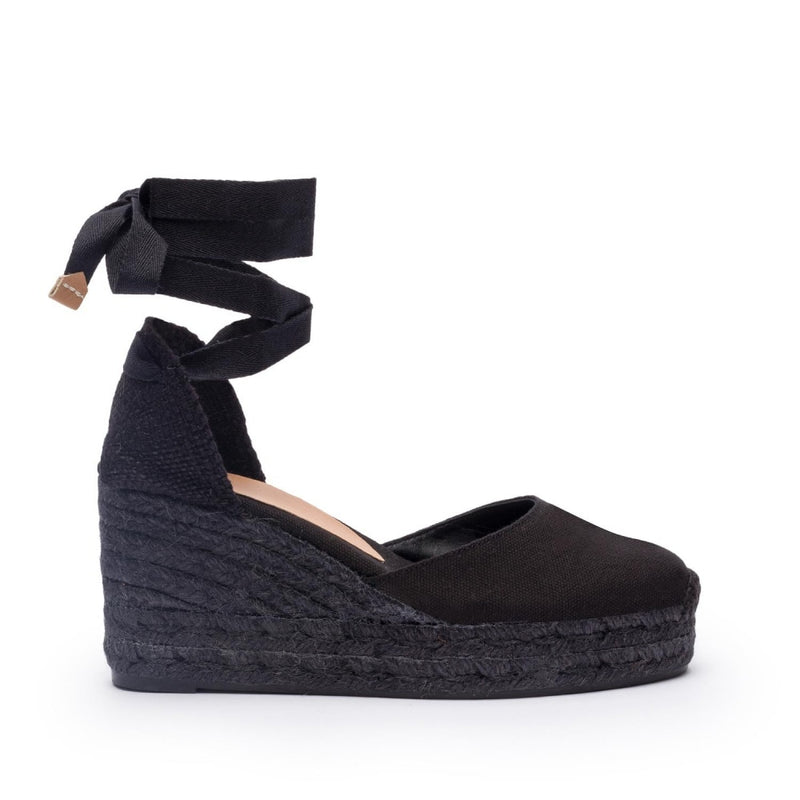 hoity-toity-shoes - Carina Black 90mm Espadrille - Castañer - High Heel,Espadrille,Wedge,Strappy Sandal