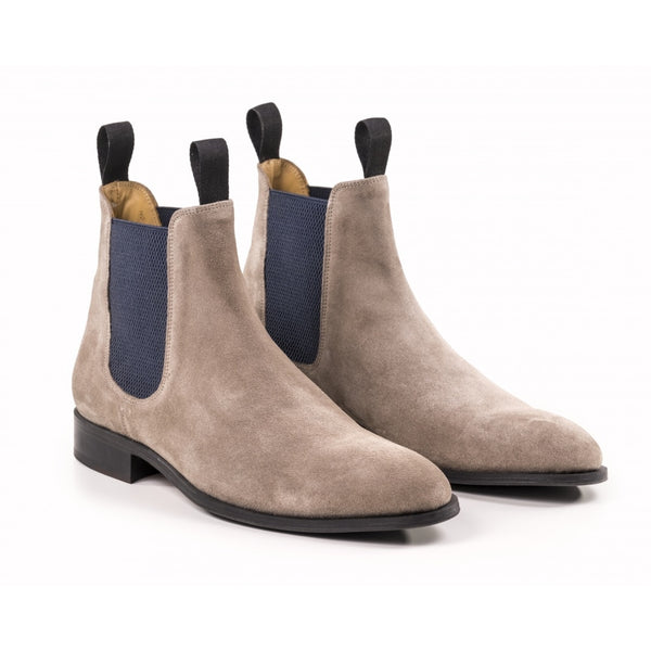 Modern Mens Chelsea Boot in Grey Suede