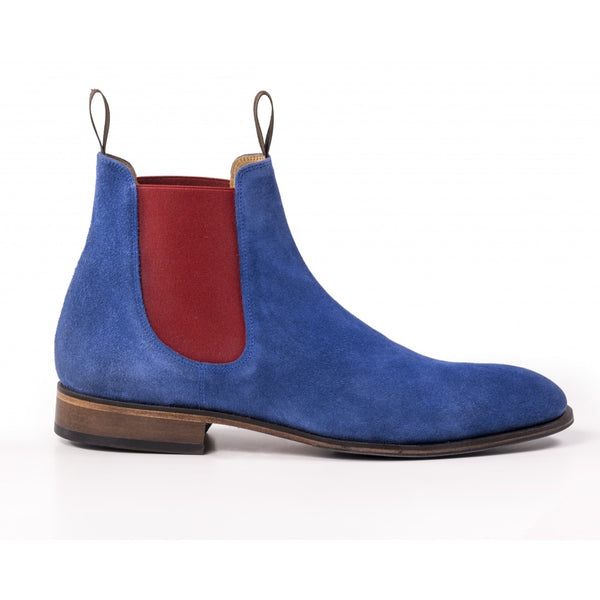 The Unique Mens Chelsea Boot in Blue suede