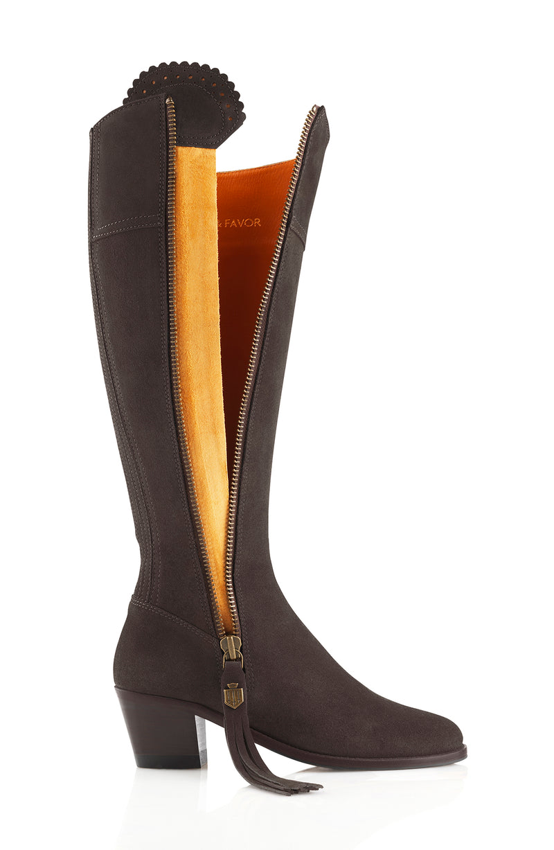 hoity-toity-shoes - Heeled Regina Boot in Chocolate Suede - Fairfax & Favor - Boots