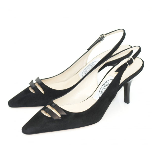 hoity-toity-shoes - 2 Bow Hi sling back court shoe - Emma Hope - Mid Heel,Pumps,Slingback