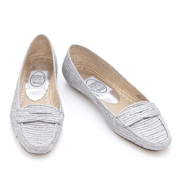 Flat Loafer in Silver Rafia and Leather