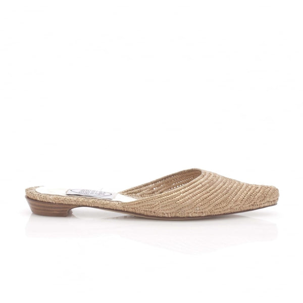 Flat Mule in Gold Rafia