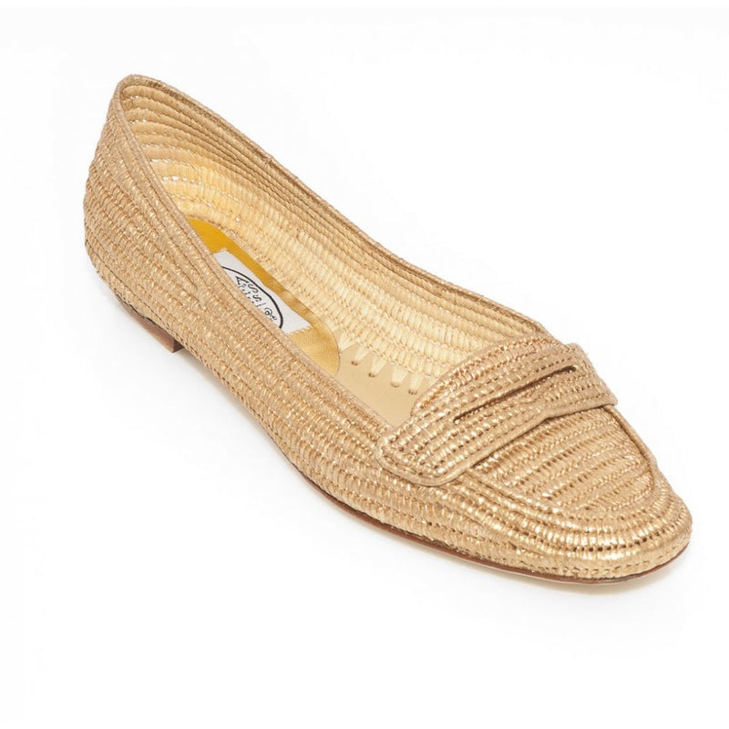 hoity-toity-shoes - Penny Loafer in Gold Raffia with Leather soles - Emma Hope - Flats > Flat Loafer,Flats